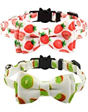 XPangle Bowtie Cat Breakaway Collar with Bell, Cute Plaid Kitty Collars Adjustable Kitten Collar Safety Buckle7.5-11.4 in