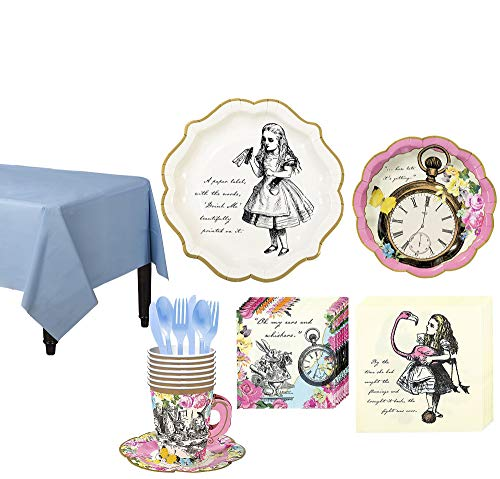 Party City Alice in Wonderland Tableware Party Kit for 12 Guests, Includes Tea Cup and Saucer -