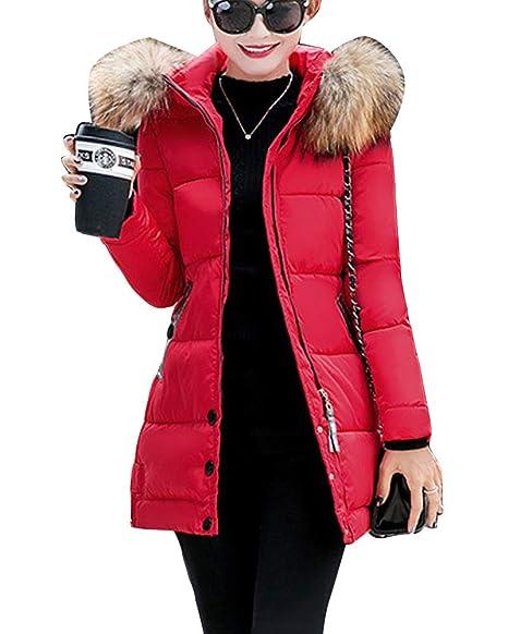 Guiran Mujer Chaquetas con Capucha Invierno Espesar Cálido Abrigos Plumas Largo Parkas Slim Fit Rojo S