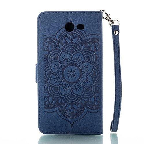 Galaxy J52017(Estados Unidos Edition) funda de piel, Galaxy J52017(Estados Unidos Edition) teléfono móvil funda, Ekakashop flores relieve patrón Bookstyle Cartera Case Premium Business–Funda de  Campanula Deep Blue
