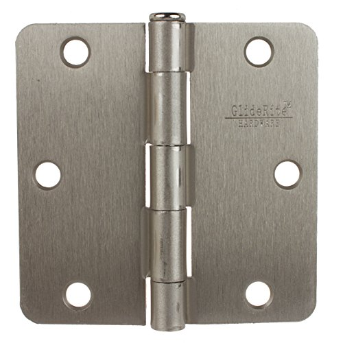 (GlideRite Hardware 3514-SN-12 3.5 inch Steel Door Hinges 0.25-inch Radius Satin Nickel Finish 12 Pack)