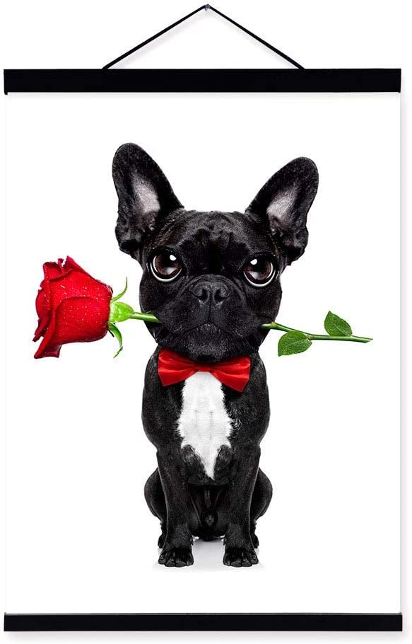 Funny Dog In Roses Canvas Wall Art Picture Print