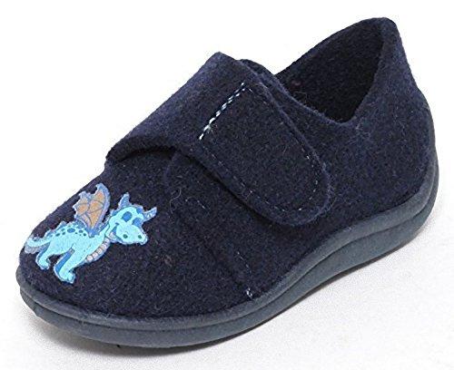 Filz Kinder Hausschuhe Gr.21-30 Klettverschluss Schuhe Puschen Pantoffeln Dunkelblau
