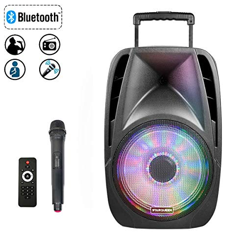STARQUEEN 12 Trolley Portable Bluetooth PA Speaker with Wireless Micorphone, Battery Powered Rechargeable Karaoke DJ Speaker with LED Lights, Active Loud Digital Sound System, FM/MP3/USB/SD Card/AUX