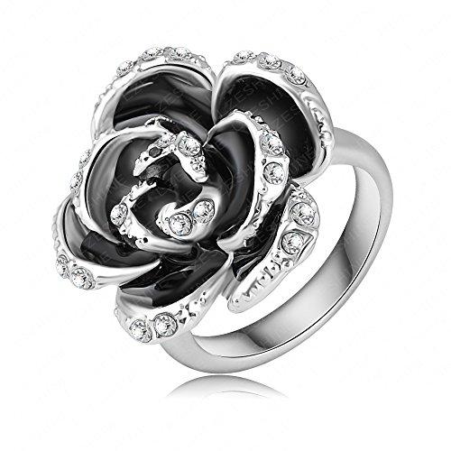 Evertrust (TM)Fashion Black Rose Wedding Rings Real Platinum Plated Genuine Austrian Crystal Ring Engagement Jeweslry Ri-HQ0127-b by EverTrust