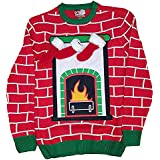 Christmas Fireplace Mantel Jacquard Red Pullover Sweater - Medium