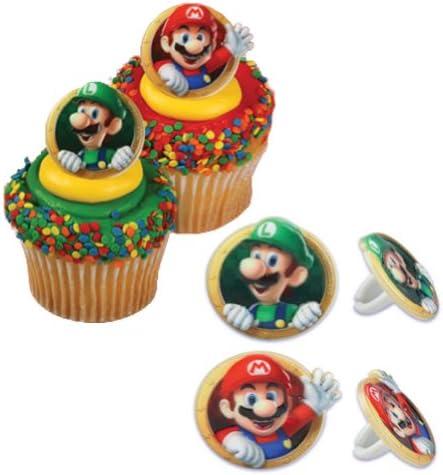 Bakery Crafts DecoPac Super Mario Cupcake Ring Party Favor Decorations, Random Assortment (24 Pack)