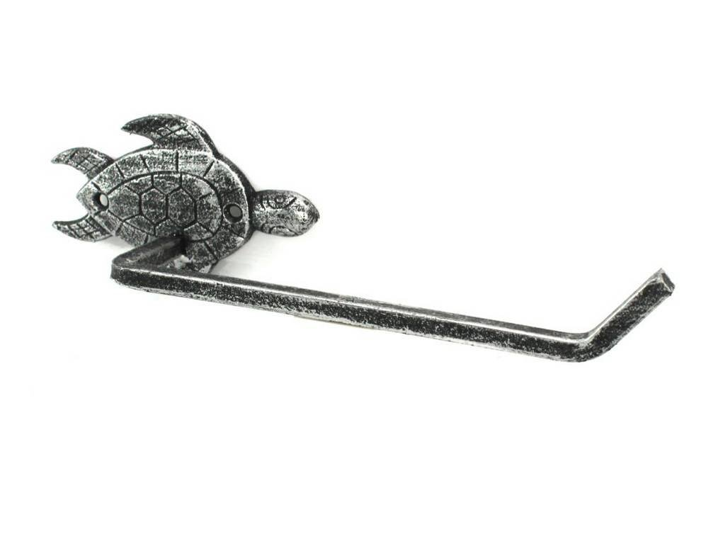 Hampton Nautical K-9207-silver Antique Silver Cast Iron Sea Turtle Toilet Paper Holder 10'' - Beach Bathroom Decoration - Beach Home