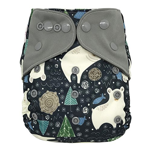 All-in-one Cloth Diaper Shell with Double Gussets, Snap Buttons, One Size (Polar Bear)