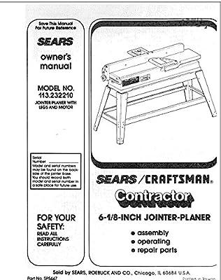 craftsman 113 232210 jointer planer owners instruction manual misc rh amazon com craftsman 13 inch planer manual craftsman thickness planer manual
