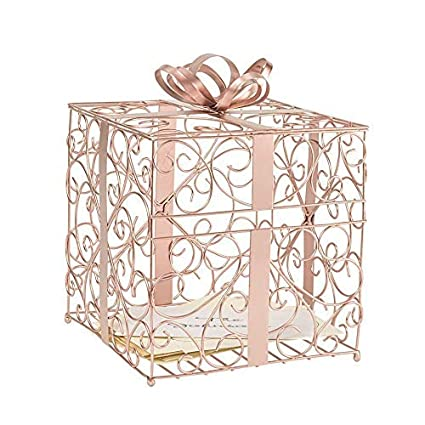Cathys Concepts Reception Gift Card Holder – Rose Gold, Metal Construction, Glitter Accents, Perfect for Weddings, Graduations & More
