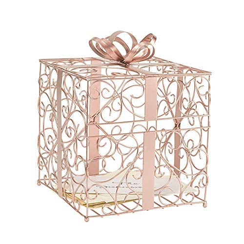 Cathy's Concepts Reception Gift Card Holder – Rose Gold, Metal Construction, Glitter Accents, Perfect for Weddings, Graduations & More ()