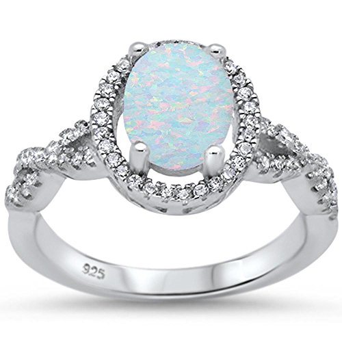 Oxford Diamond Co Sterling Silver Filigree Style Eternity Band Lab Created White Opal Gemstone Fashion Ring Size 7 ()
