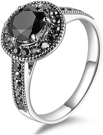 Mytys Retro Vintage White Gold Plated Black Marcasite Crystal Fashion Dome Rings