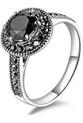 Mytys® Retro Vintage White Gold Plated Black Marcasite Crystal Fashion Dome Rings