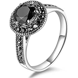 Mytys Retro Vintage Silver Plated Black Round Cut Marcasite Crystal Fashion Statement Rings for Women(7)