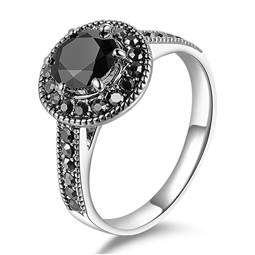 (Mytys Vintage Fashion Silver Ring for Women Black Round Cut Marcasite Stone (7))