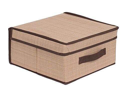 Internets Best Storage Box with Handles | Durable Storage Bin Basket Containers | Clothes Nursery Toys Organizer | Brown (Beige)