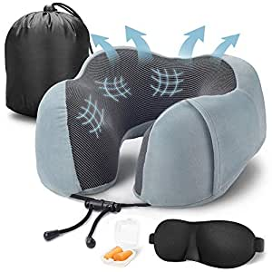Cabepow Travel Pillow 100% Pure Memory Foam Neck Pillow for Airplanes, Super Soft & Comfortable Pillow, Machine Washable, Airplane Travel Kit with 3D Contoured Eye Masks,Earplugs,and Luxury Bag Gray