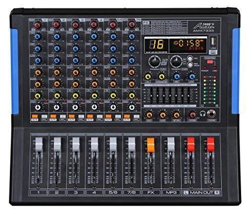 Audio2000'S AMX7333-Professional Eight-Channel Audio Mixer with USB Interface, Bluetooth, and DSP Sound Effects (AMX7333)