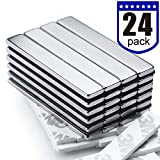 Powerful Neodymium Bar Magnets, Rare-Earth Metal Neodymium Magnet - 60 x 10 x 3 mm, Pack of 24
