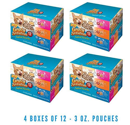 Purina Friskies Gravy Sensations Seafood Favorites Cat Food Variety Pack 12-3 oz. Pouches (4 Boxes of 12 - 3 oz. Pouch)