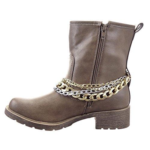 Sopily - Chaussures Mode Femme Bottines - Cavalier Bottines Pour Femme Calf Talon 4 Cm Block Talon - Taupe