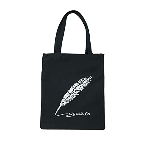 Fablcrew Bolsas de la Compra Reutilizables de Lona Bolso de Hombro Bolsa de Estudiante 32*38*4cm Negra Plumas