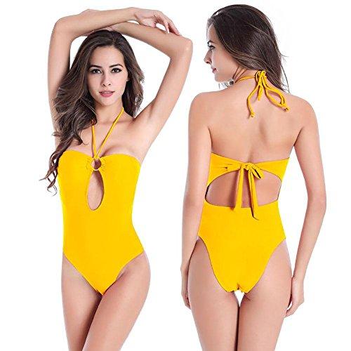 SHISHANG fertilizantes de bikini para aumentar la Sra gama alta de Europa y los Estados Unidos suave de alta elasticidad era delgado traje de baño de cuerpo Yellow