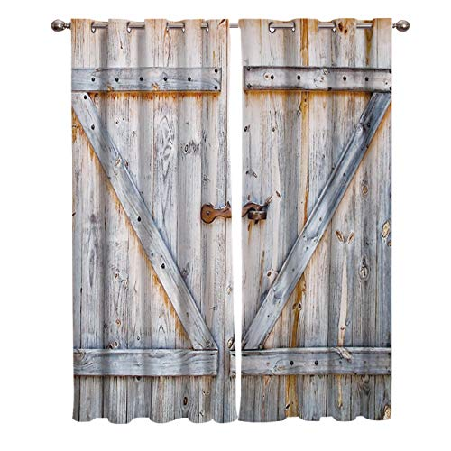 Window Treatments Curtains Room Window Panel Set for Living/Dining/Bedroom, Rustic Old Wooden Barn Door of Farmhouse Oak Countryside Village Board 40 by 84 Inch, 2 Panels - Oak Patio Door