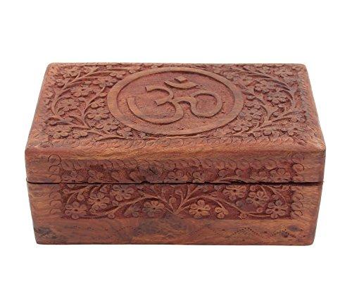 Wooden Storage Box   Hand Carved Hindu Om   Aum   4 X 6