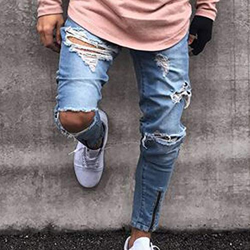 Jeans Ripped Used Denim Pantaloni Da Ragazzo Fit Casual Uomo Hellblau Strappati Destroyed Look Slim Stretch Pants FSqSwBv