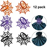 Boao 12 Piezas de Anillos de Tela de araña para Halloween, servilleteros espeluznantes, Anillos de Metal para Halloween, Suministros de Fiesta, Decoraciones de Mesa, 3 Colores