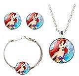 Disney's Princesses Glass Domed Pendant Necklace, Earring, Braclet Jewelry Set (Little Mermaid)