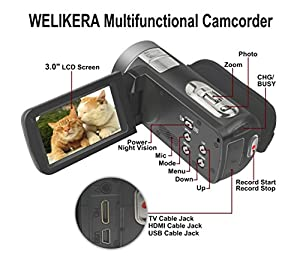 """WELIKERA Camera Camcorder, Remote Control Handy Camera, IR Night Vision Camcorder, HD 1080P 24MP 16X Digital Zoom Video Camcorder with 3.0"""" LCD and 270 Degree Rotation Screen from EE DEPOT INC"""