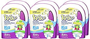 Kandoo Kids Flushable Wipes, Potty Training Cleansing Cloths with Refillable Tub, Sensitive, 50 Count (Pack of 6)