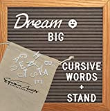 Gray Felt Letter Board by Expressive Accents | 10x10 inch Changeable Letterboards Include Cursive Words, 360 White Plastic Letter Set & Easel Stand | Ideal for Baby Milestones, Wedding, Home Decor
