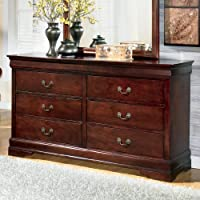 Ashley Furniture Signature Design - Alisdair Dresser - 6 Drawers - Traditional Louis Philippe Style - Dark Brown