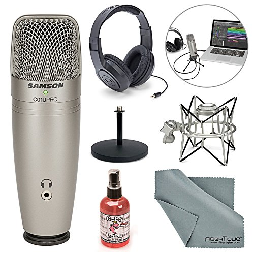 Samson C01U Pro USB Studio Condenser Microphone W/ Spider Shock Mount, Desktop Stand, Microphone sanitizer, Samson Stereo Headphones and FiberTique Cleaning Cloth (Usb Instrumental Microphone)
