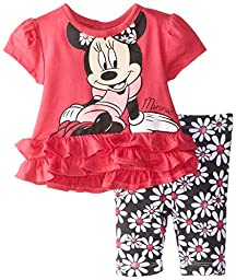Disney Baby Girls  Minnie Mouse Girl Legging Set, Red, 3-6 Months