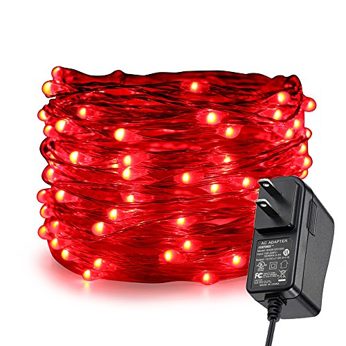 ER CHEN Fairy Lights Plug in, 33Ft/10M 100 LED Silver Coated Copper Wire Starry String Lights Outdoor/Indoor Decorative Lights for Bedroom, Patio, Garden, Party, Christmas Tree (Red)