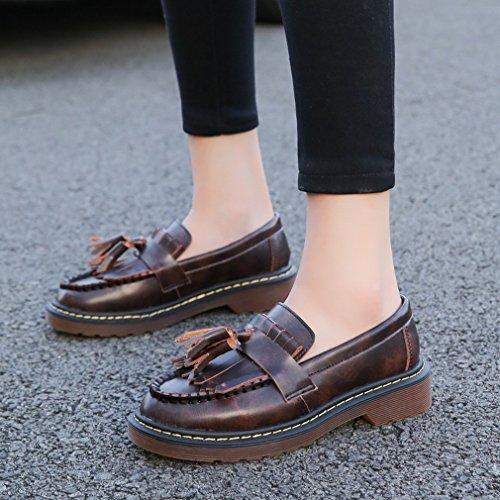 ZH Glands D'Automne Institut Épais avec de Petites Chaussures en Cuir Chaussures Femmes Plates Européennes Et Américaines Simples Chaussures de Grande Taille B qvZX9h