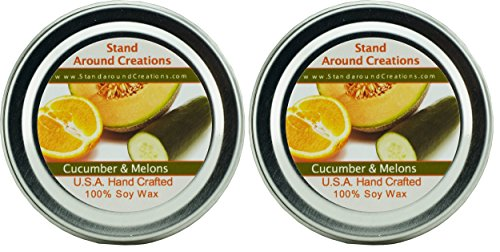 Premium 100% Soy Candles - Set of 2 - 2oz Tins- Cucumber & M