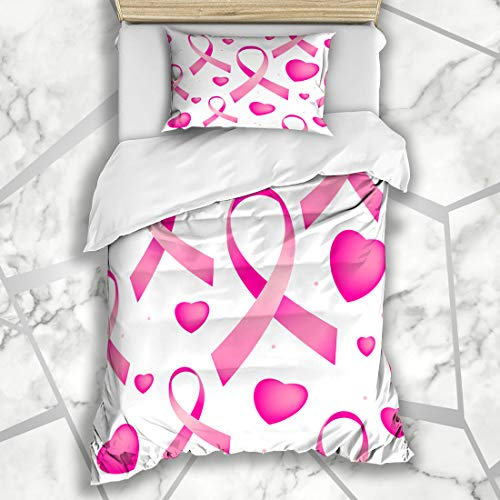 Ahawoso Duvet Cover Sets Twin 68X86 October Awareness Pattern Pink Breast Cancer Holidays Bow Campaign Care Cause Life Microfiber Bedding with 1 Pillow Shams