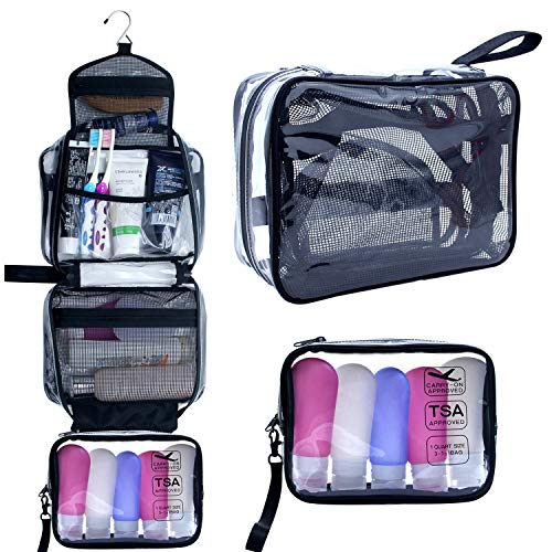 8c9af8b19b6e Hanging Toiletry Bag, Clear Travel Toiletry Bag with Detachable TSA  Approved Small Clear Bag Airline 3-1-1 Carry On Compliant Bag Makeup Bag  for Men ...