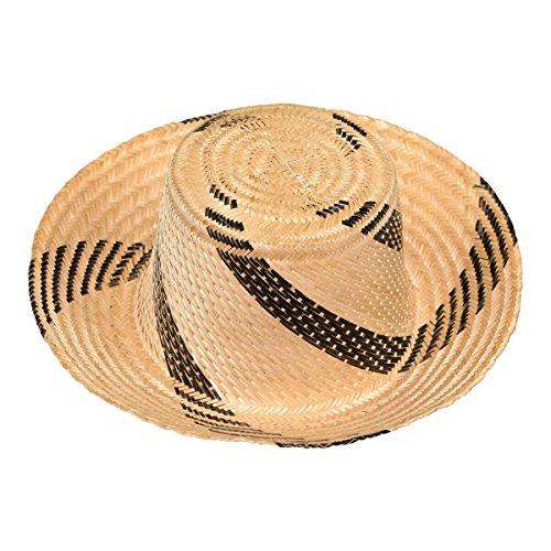 Natural Iraka Palm Straw Guadalupe Design Laguna Wayuu Hat by Hand-Made In Colombia