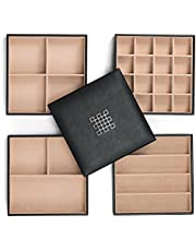 Glenor Co Jewelry Organizer Tray - 4 Stackable Trays & Lid with Mirror - 27 Slot Storage for Drawer, Dresser - Black