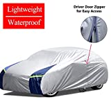 KAKIT Lightweight Car Cover Waterproof All Weather for Sedan, Polyester Sun UV Protection Windproof Universal Outdoor Car Covers for Automobiles with Driver Door Zipper, Fits up to 215''