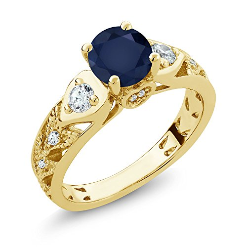 2.26 Ct Round Blue Sapphire 18K Yellow Gold Plated Silver Ring (Gold Ring Yellow Single Classic)