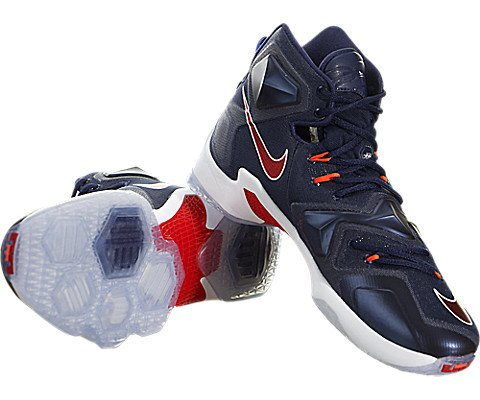 Nike Men's Lebron XIII Mid Navy/University Red/White Basketball Shoe - 11 D(M) US